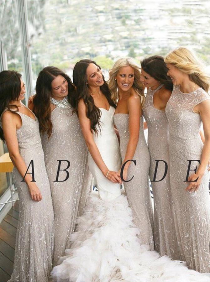 Glitter Mermaid Sweetheart Floor-Length Light Grey Tulle Bridesmaid Dress фото
