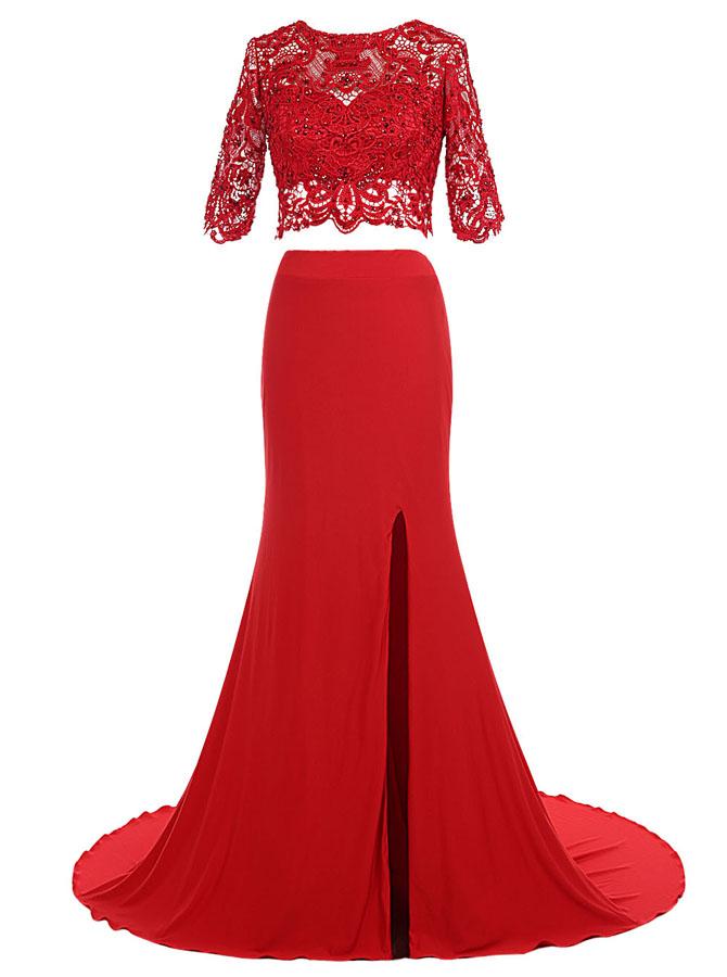 Two Piece Sheath Bateau Red Spandex Dress with Lace Split