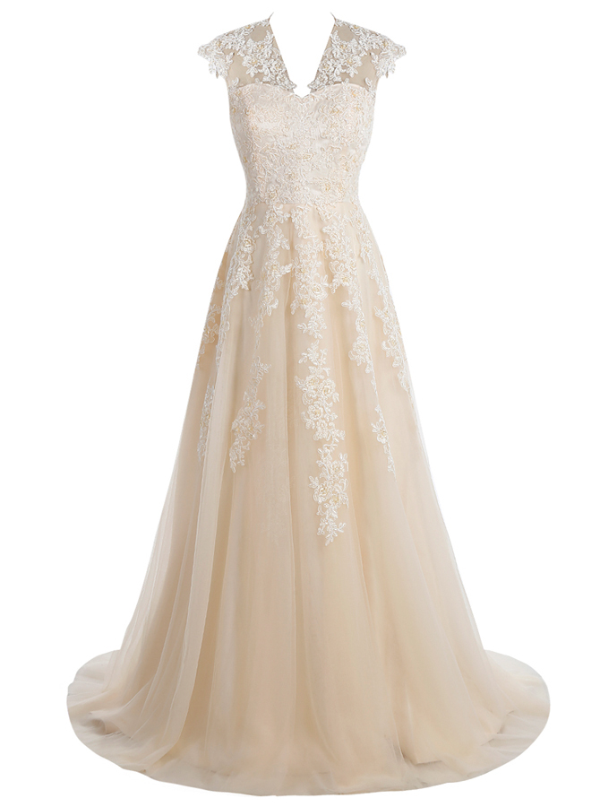 Simple-dress / A-Line V-Neck Sweep Train Champagne Tulle Dress with Appliques