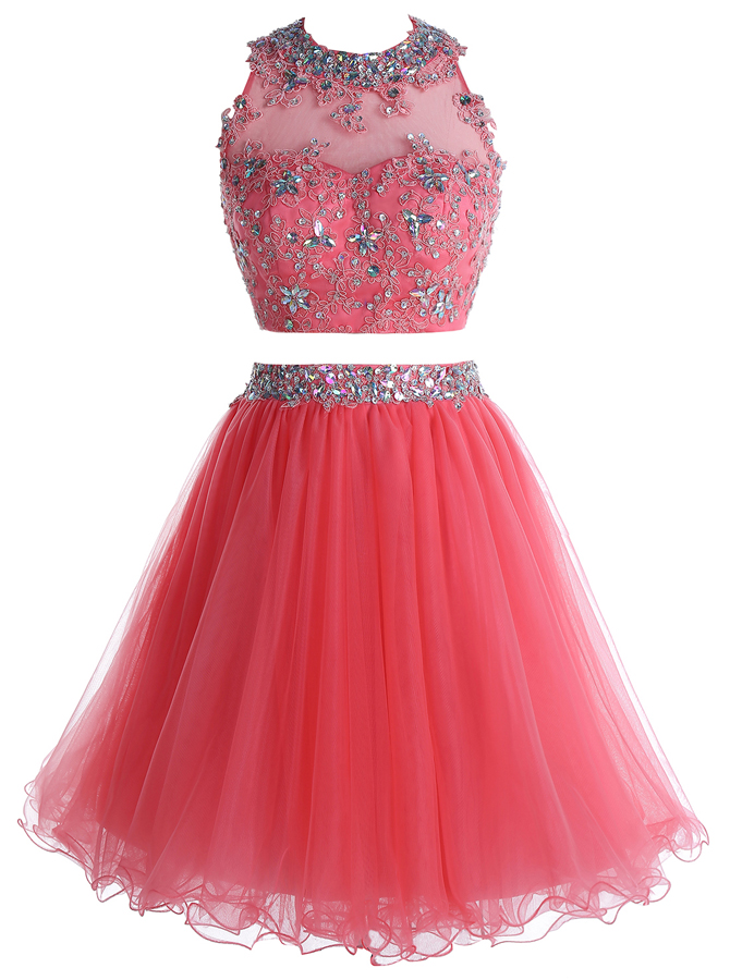 Two Piece Round Neck Short Coral Tulle Dress with Beading Appliques