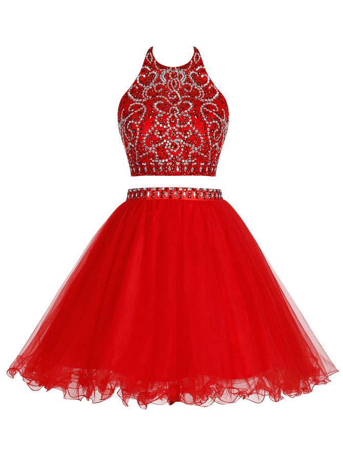 Two Piece Round Neck Open Back Short Red Tulle Dress with Beading