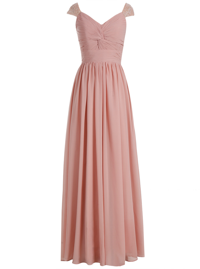 A-Line Scoop Cap Sleeves Ruched Blush Chiffon Dress with Beading фото