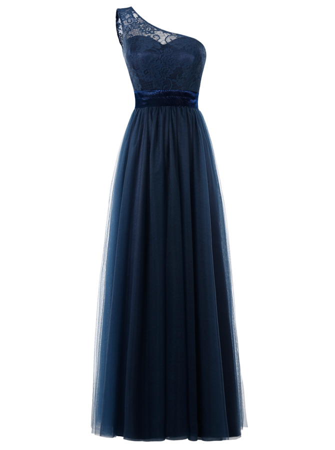 A-Line One Shoulder Floor-Length Dark Navy Tulle Dress with Sash Lace, Navy blue