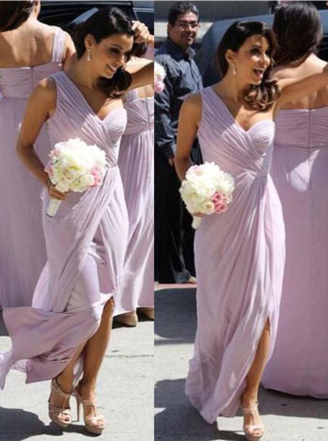 Aline Sweetheart One-shoulder Slit Chiffon Bridesmaid Dress фото