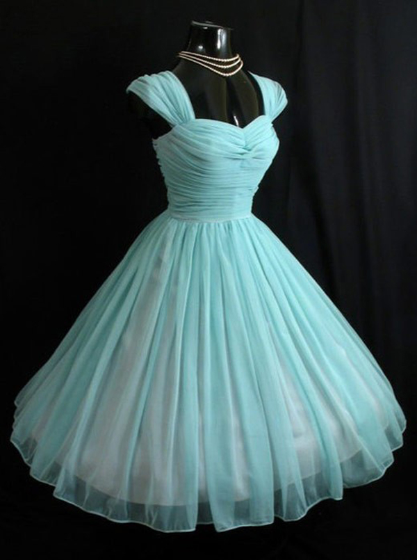 Vintage Sweetheart Turquoise Short 50s Chiffon Cap Sleeves Prom Dress/Homecoming Dress фото