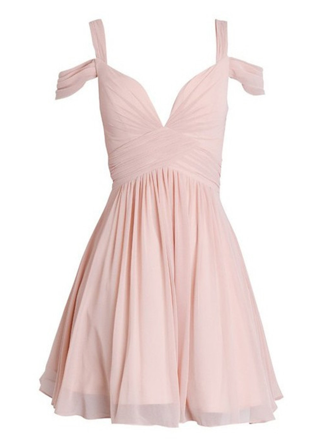 A-Line Straps Short Pearl Pink Chiffon Bridesmaid Dress with Ruched фото