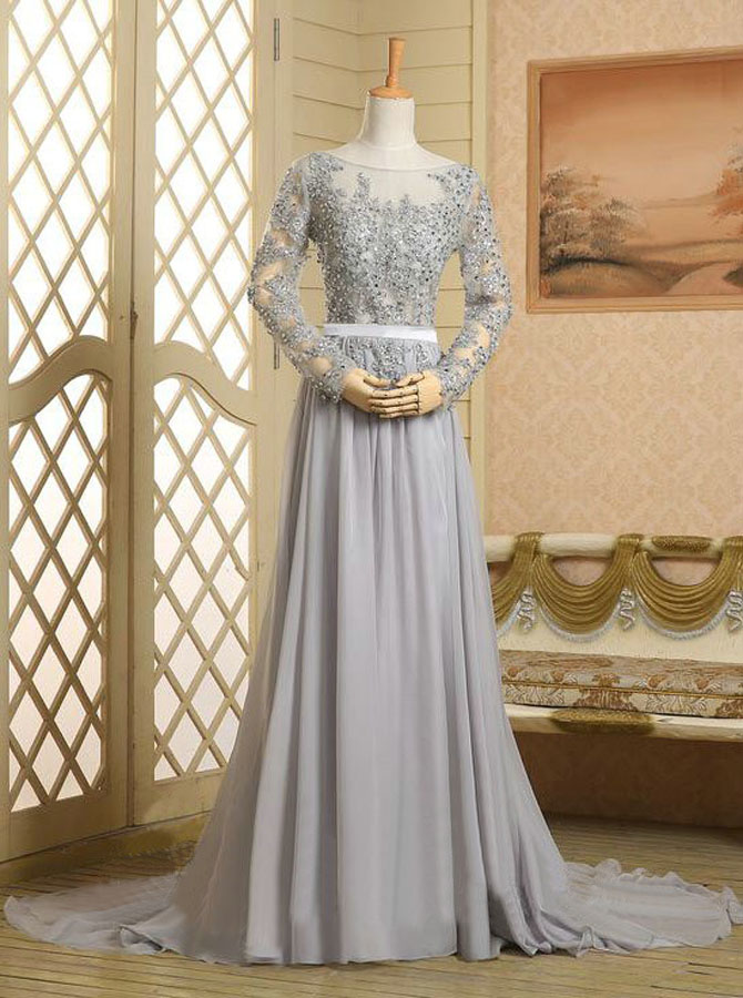 Chic A-line Scoop Neck Long Sleeves Beading Appliques Chiffon Prom Dress фото