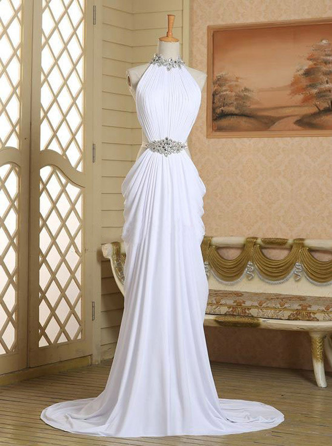 Sexy Column Long Halter Neck Slip White Chiffon Beading Prom Dress фото