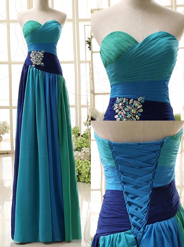 Elegant Sweetheart Princess Long Chiffon Prom Evening Dress thumbnail