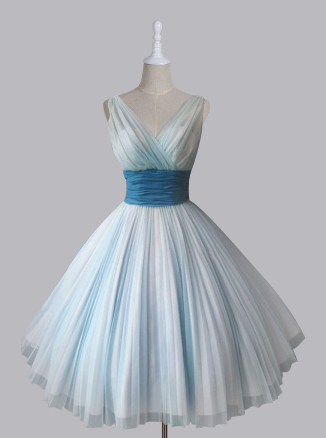 Vintage Short V-neck 50s Chiffon Light Sky Blue Homecoming Party Dress фото