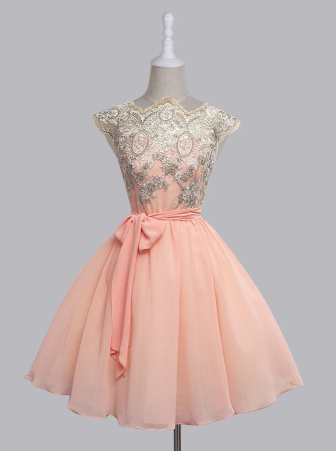 A-Line Scalloped-Edge Cap Sleeves Short Pink Chiffon Prom Dress with Sash фото