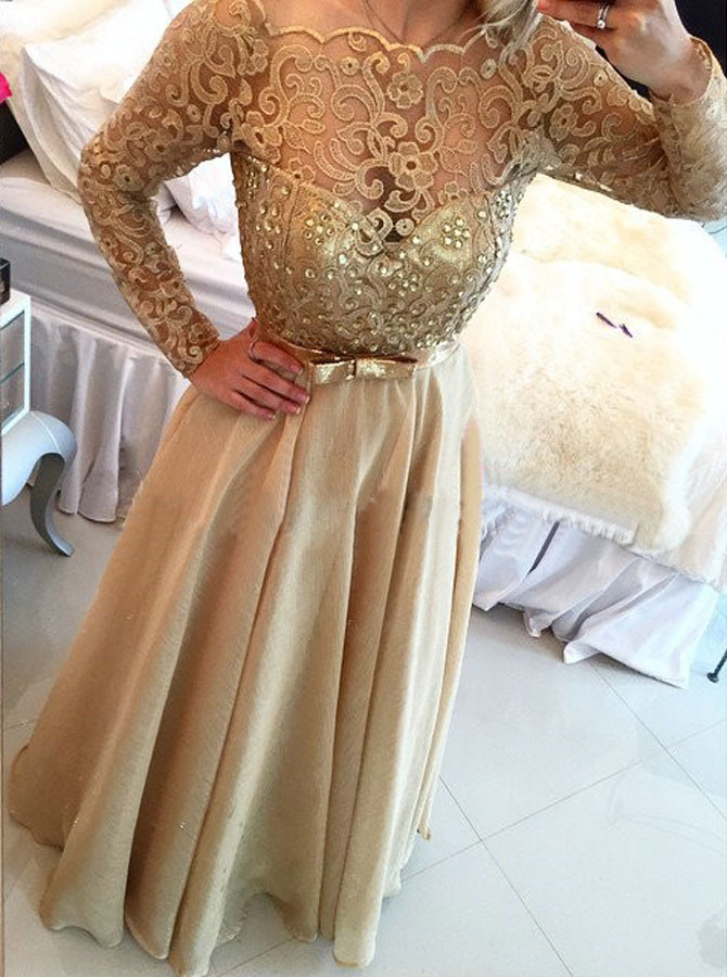 Stunning A-line Long Sleeves Gold Chiffon Prom Evening Dress фото