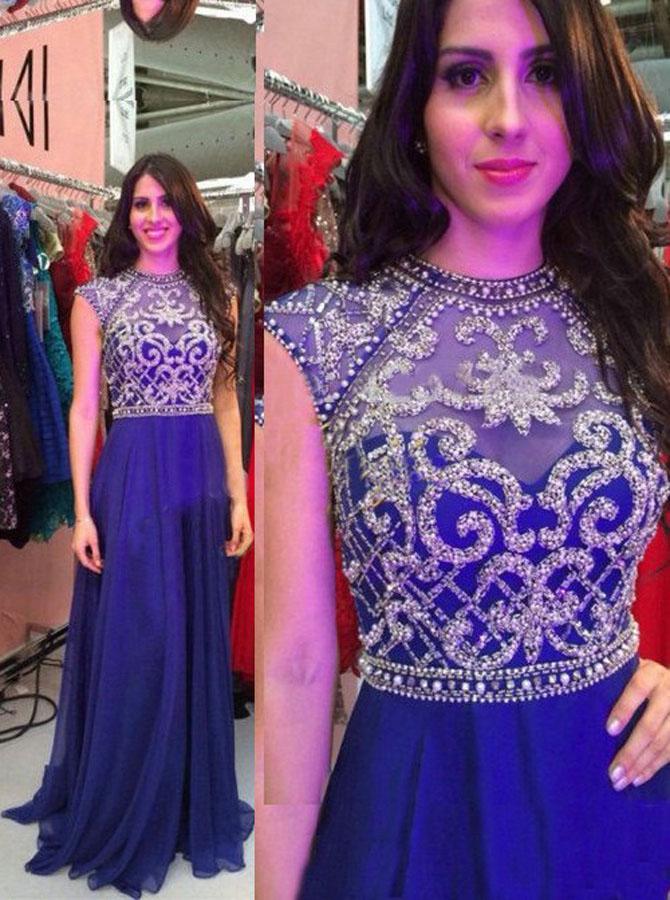 Modern A-line High Neck Beading Floor-length Chiffon Royal Blue Prom/Evening Dress