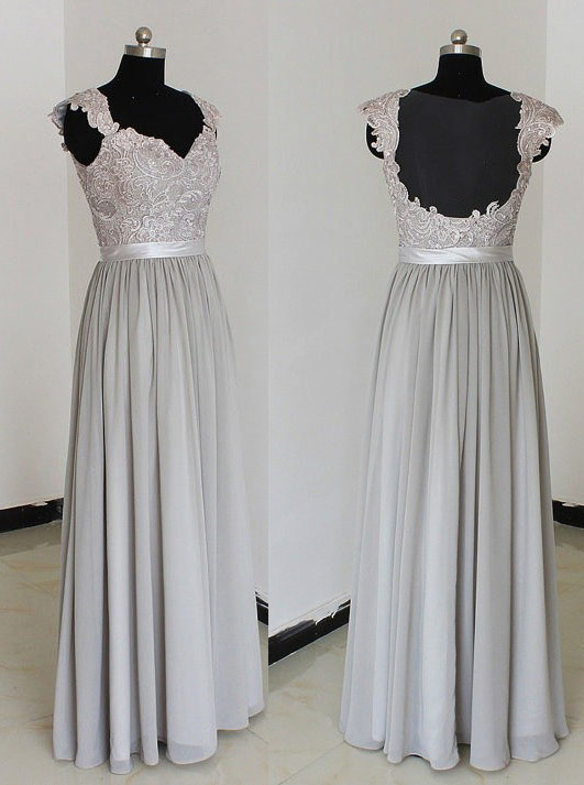 Elegant Sweetheart Floor Length Chiffon Silver Bridesmaid Dresses With Appliques фото