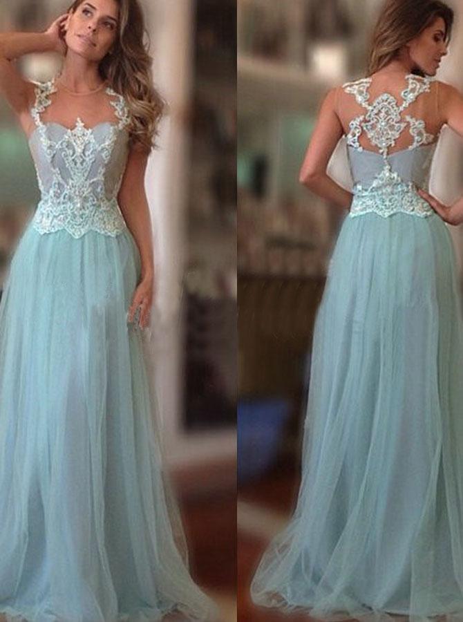 Elegant Scoop Lace Appliques A-line Light Sky Blue Chiffon Prom Evening Gown фото