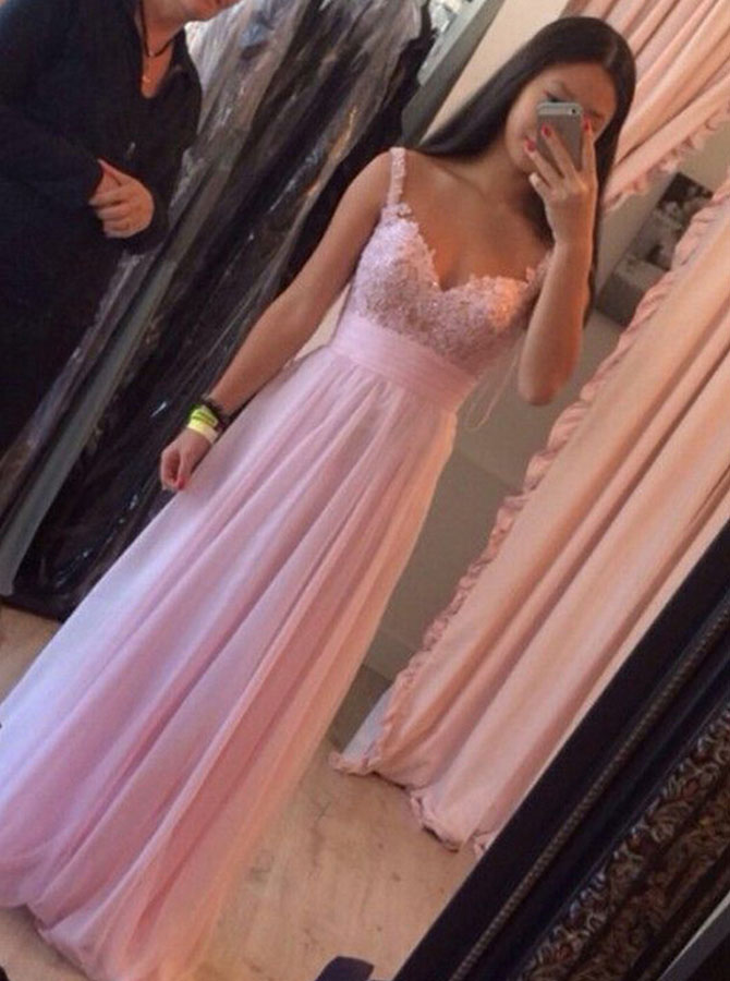 Simple-dress / A-Line Spaghetti Straps Floor-Length Pink Chiffon Prom Dress with Appliques