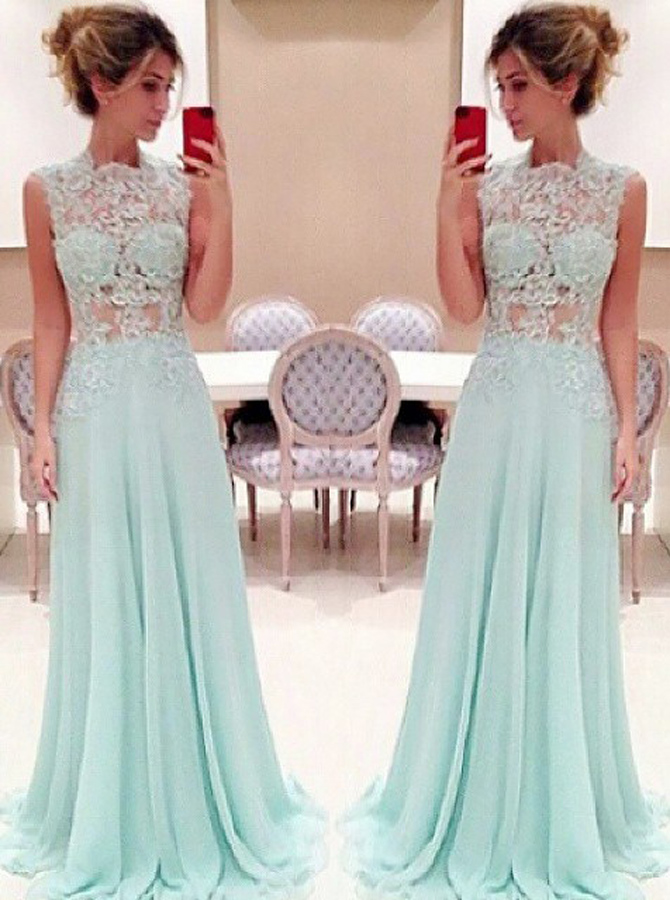Stunning Lace High-neck Long Chiffon Light Sky Blue Prom Dress фото