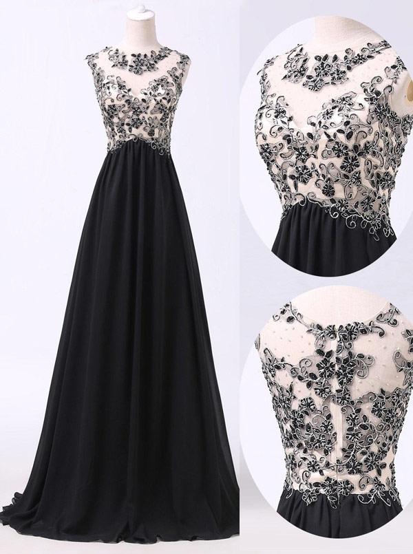 Handmade Beading Scoop Black Long Chiffon Prom/Evening Dress