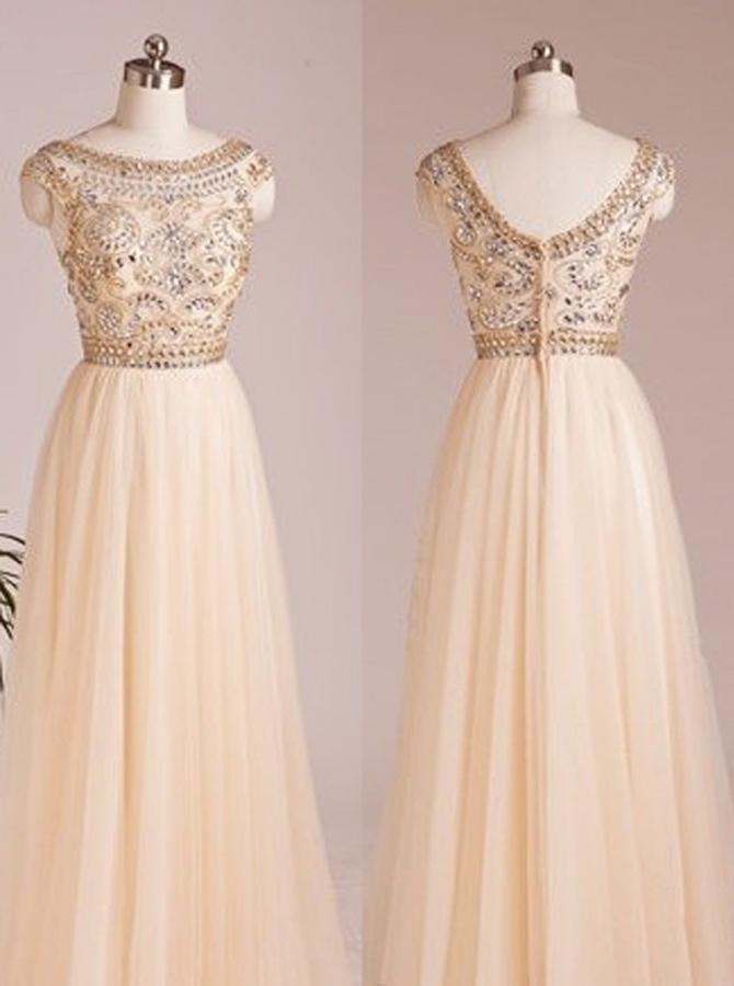 Latest A-line Scoop Capped Floor Length Chiffon Beading Prom Dress фото