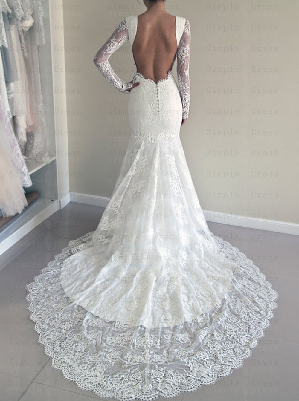 Open Back Wedding Dress With Sleeves Off 75 Buy