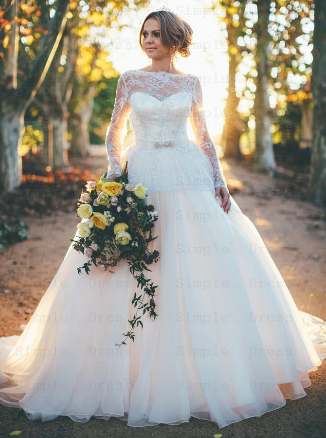 Stunning Backless Long Sleeves Ball Gown Organza Wedding Dress With Beading Lace Top Wedding Dresses 225 99 Simple Dress Com
