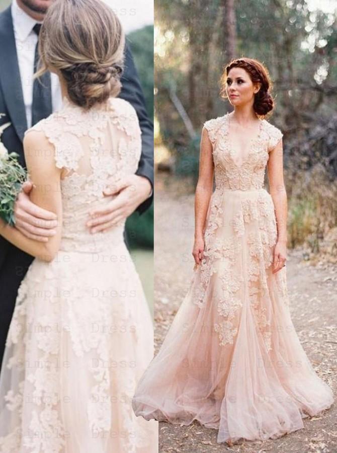 Elegant V Neck Sleeveless Floor Length Wedding Dress With Lace