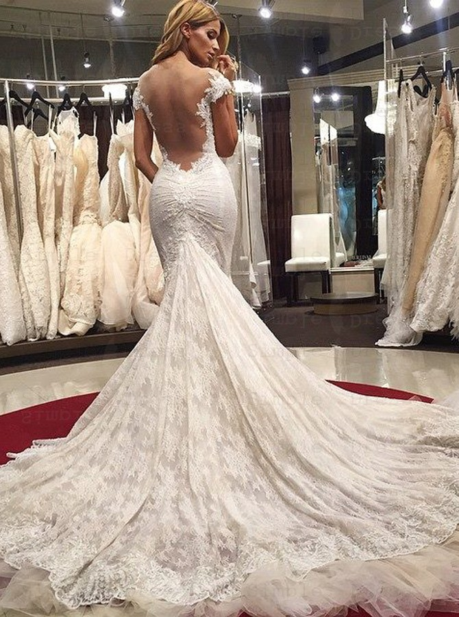 Mermaid Scoop Illusion Back Cap Sleeves Court Train Lace Wedding