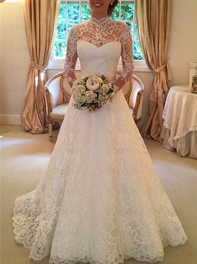 Stylish High Neck Long Sleeves Sweep Train Lace Wedding Dress With Bowknot Backless Wedding Dresses 259 99 Simple Dress Com