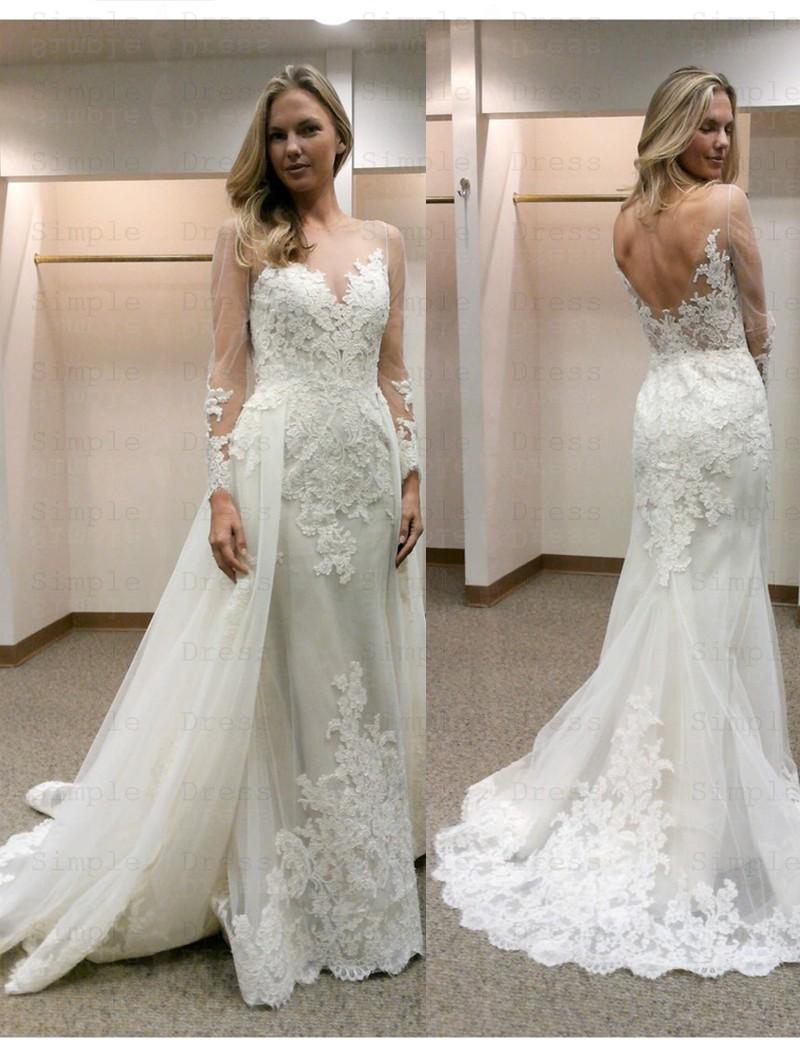 Elegant Illusion Bateau Neck Long Sleeves Sheath Wedding Dress With Lace Detachable Train Wedding Dresses 256 99 Simple Dress Com