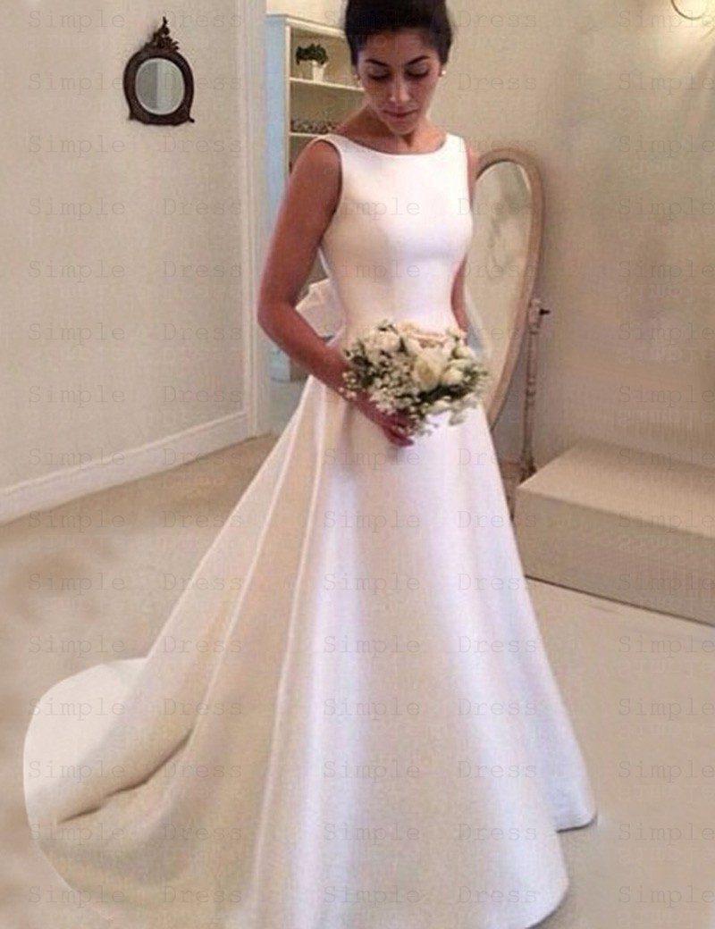 Simple Bateau Backless Court Train A Line Wedding Dress With Bowknot