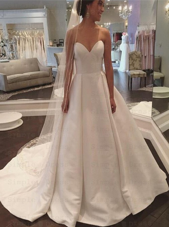 A Line Sweetheart Court Train Ivory Satin Wedding Dress With Pleats Wedding Dresses 156 99 Simple Dress Com