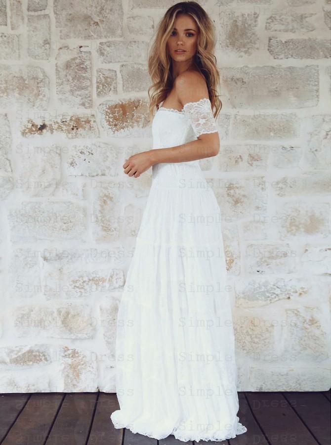 A Line Off The Shoulder Short Sleeves Lace Boho Wedding Dress