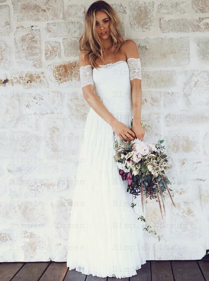 A Line Off The Shoulder Short Sleeves Lace Boho Wedding Dress Wedding Dresses 169 99 Simple Dress Com