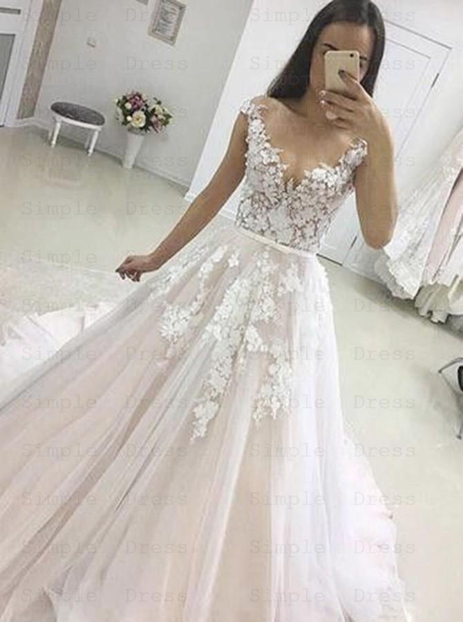 A Line Illusion Bateau Cap Sleeves Court Train Tulle Appliques Wedding Dress