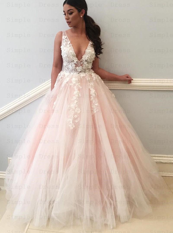 Simple Light Pink Wedding Dress