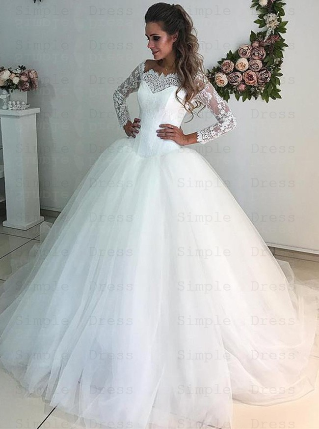 Ball Gown Off The Shoulder 3 4 Sleeves Tulle Wedding Dress With Lace