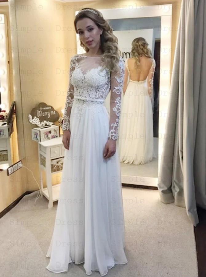 A Line Bateau Long Sleeves Chiffon Wedding Dress With Appliques