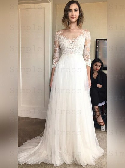 A Line Scoop 3 4 Sleeves Tulle Wedding Dress With Appliques