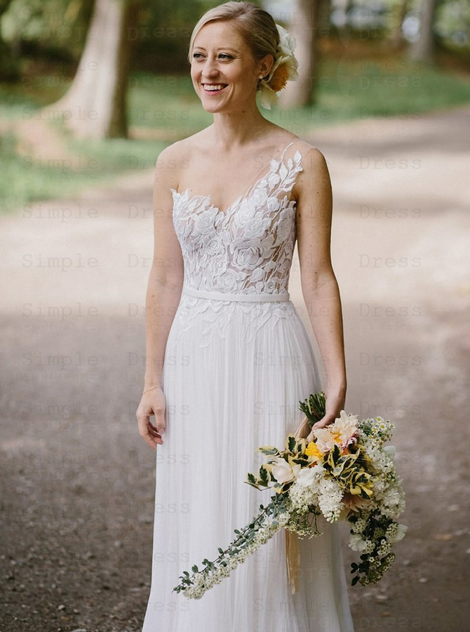 A Line One Shoulder Pleats Chiffon Wedding Dress With Apliques