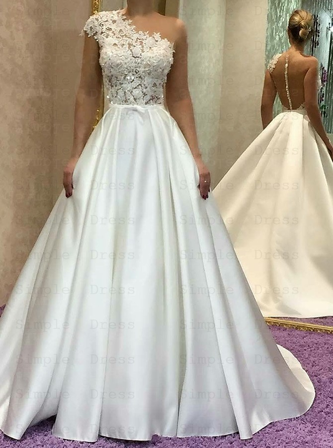 A Line One Shoulder Court Train Satin Wedding Dress With Lace