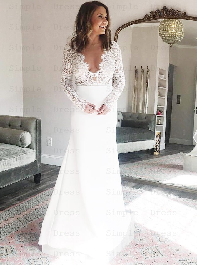 Chiffon Wedding Dress With Lace Top