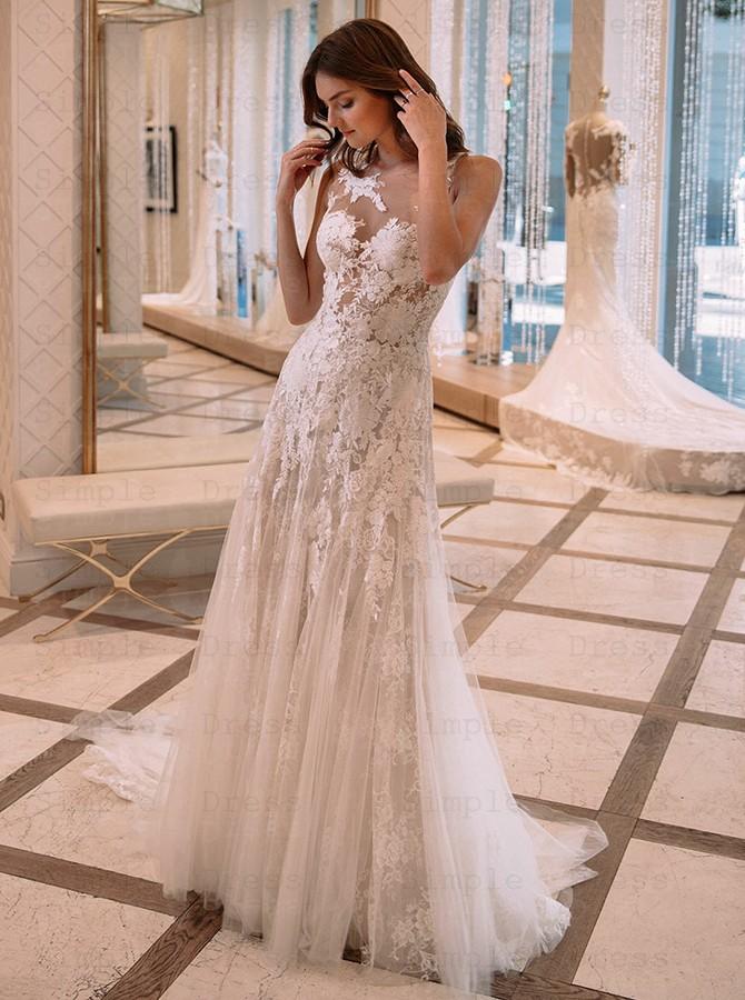 A Line Bateau Court Train Tulle Wedding Dress With Lace Appliques