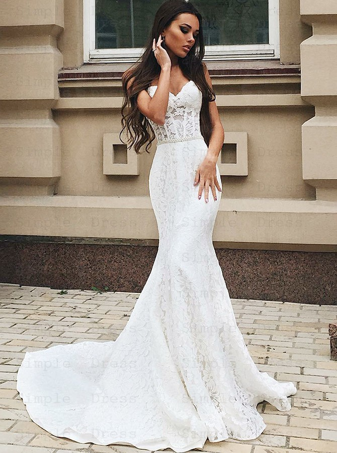 Mermaid Sweetheart Sweep Train Lace Wedding Dress With Beading Wedding Dresses 249 99 Simple Dress Com
