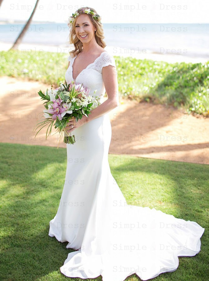 latest wholesale outlet big discount Mermaid V-Neck Court Train Low Cut White Satin Wedding Dress with Lace