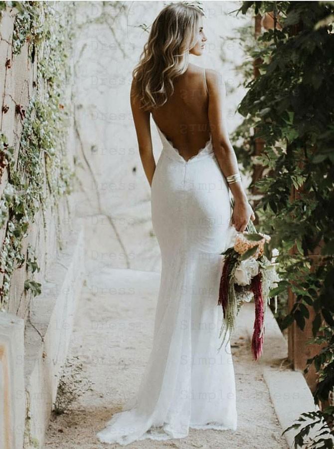 Mermaid Spaghetti Straps Low Cut Backless Lace Wedding Dress Wedding Dresses 199 99 Simple Dress Com