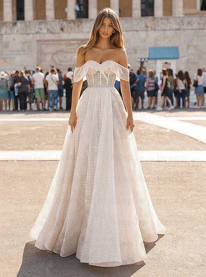 Charming Off Shoulder A Line Sweep Train Short Sleeves Lace Wedding Dress Wedding Dresses 329 99 Simple Dress Com,Vintage Pin Up Wedding Dresses