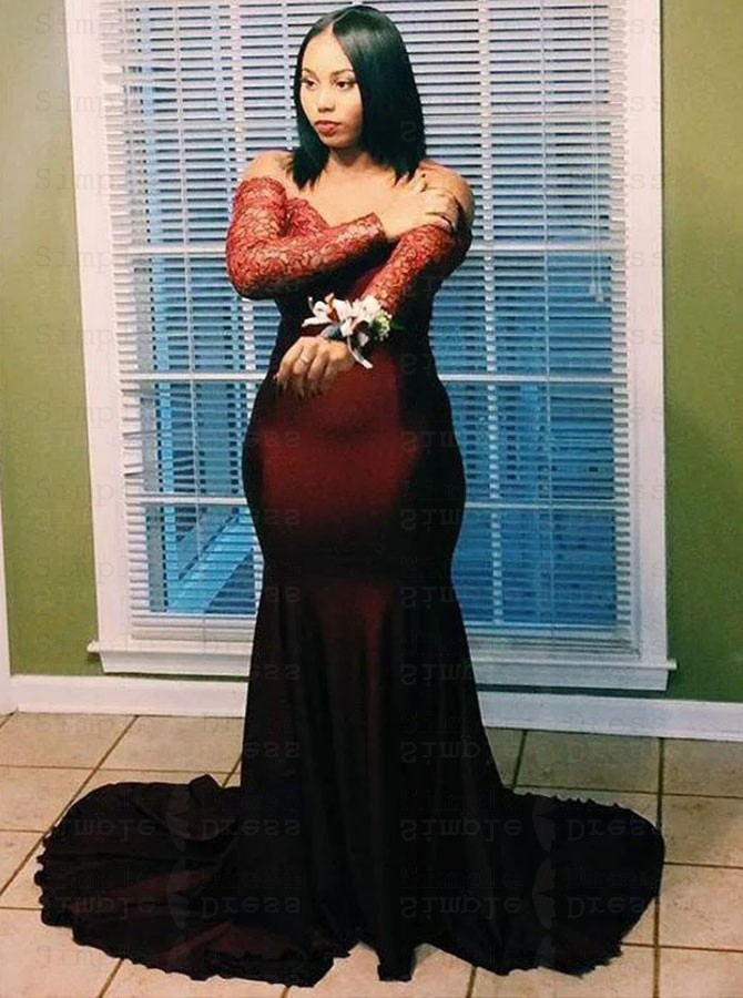 Mermaid Off-the-Shoulder Dark Red Plus Size Prom Dress with Beading Lace
