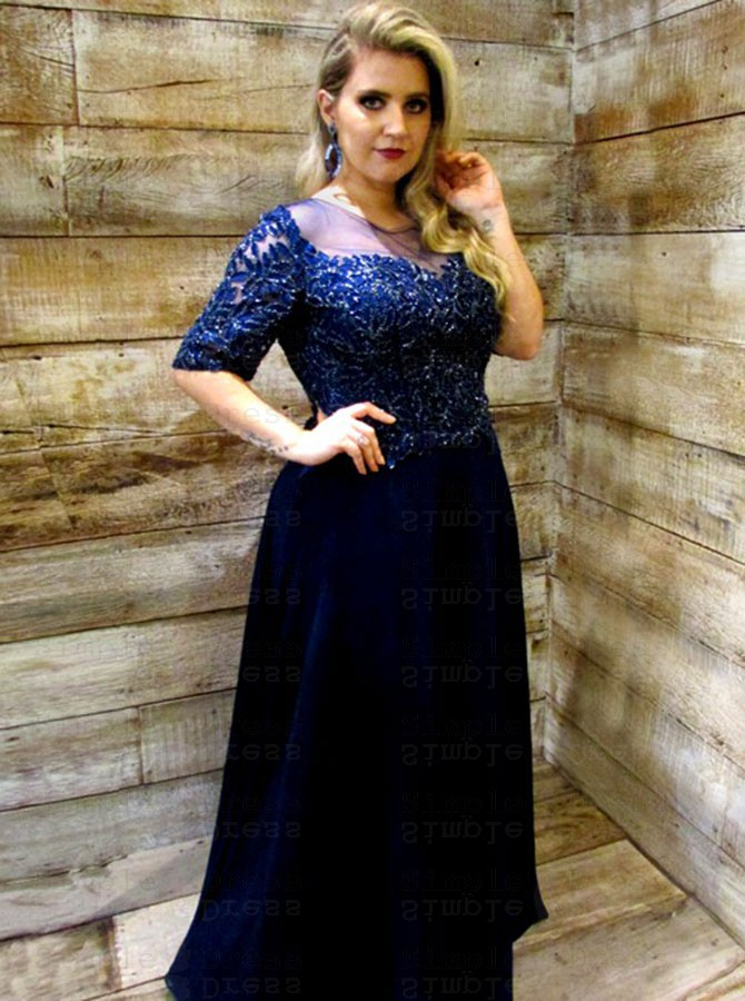 A-Line Round Neck Navy Blue Chiffon Plus Size Prom Dress with Appliques