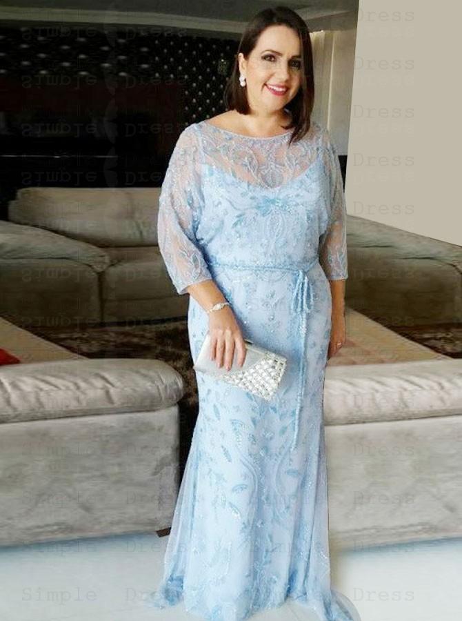 Mermaid Bateau Light Blue Lace Plus Size Prom Dress with Sash