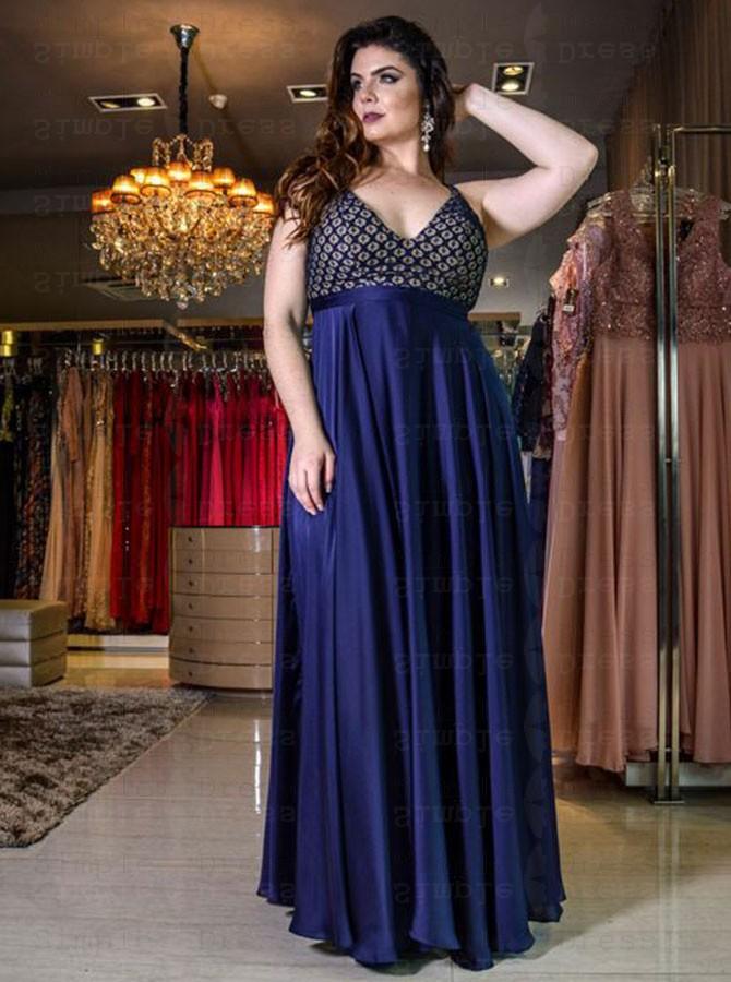 A-Line V-Neck Blue Floral Elastic Satin Plus Size Prom Dress